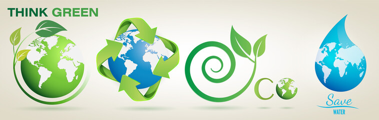 Think Green, Recycle, Eco, Save Water- Vector Logo Set