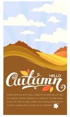 Hello autumn, vector rural landscape with lettering composition,