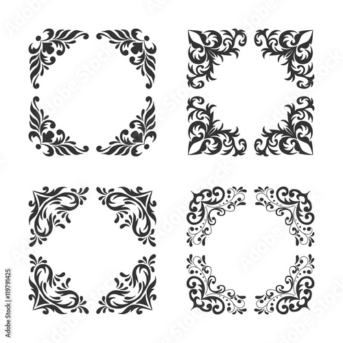 e9b211b174bc Vintage style square frames collection. Decorative frame set for your  design for any holiday