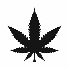 Cannabis leaf icon in simple style isolated on white background. Drugs symbol