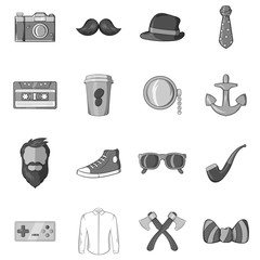 Hipster icons set in black monochrome style. Hipster elements set collection vector illustration