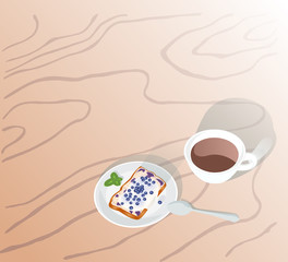 Coffee and cake, without text. Raster copy.
