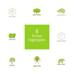 Set of 8 trees and forest logos.