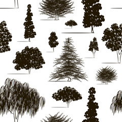 Trees sketch set pattern