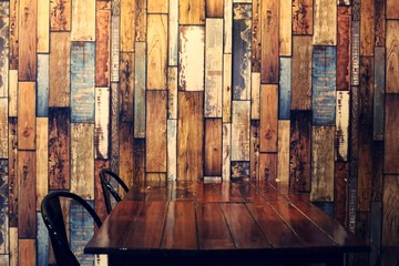 old wooden wall with table