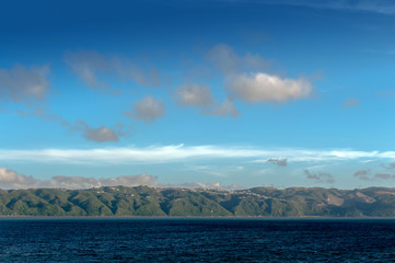 Coast of North Island of New Zealand seen from ferry from Wellington to Picton