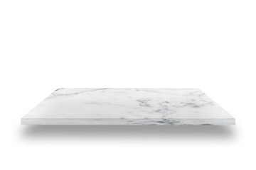 Empty top of white mable stone table on white background. can be