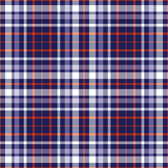 Seamless tartan plaid pattern. Stripes of red, lavender violet and white twill on navy blue background.