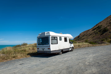 Motorhome or campervan parking by the coast of Kaikoura in South