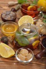 Fresh tea in glass teapot