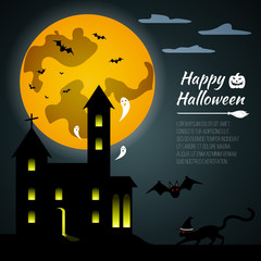 Halloween black castle on yellow Moon background. Gift card Happy Halloween. Vector illustration.