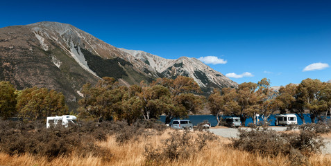 Motorhome camper at Lake Pearson / Moana Rua Wildlife Refuge located in Craigieburn Forest Park in Canterbury region, South Island of New Zealand