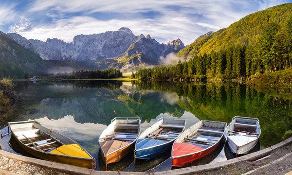 panorama of mountain lake in the Italian Alps