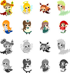 Cute icons of various fairy tales