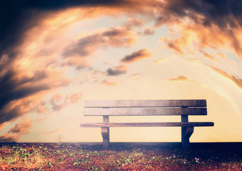Empty bench  at sky background, outdoor