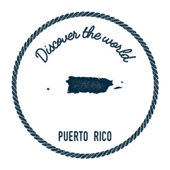 Vintage discover the world rubber stamp with Puerto Rico map. Hipster style nautical postage stamp, with round rope border. Vector illustration.