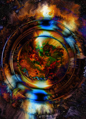 Cosmic space and color circle effect, color background.