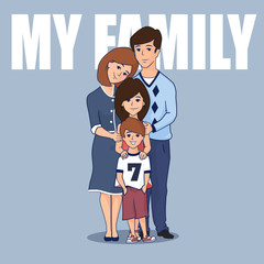 Cute family with two children. Mom, dad, son and daughter hugging together. Isolated on white Vector flat illustration.