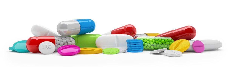 Bunte, farbenfrohe Medikamente - Tabletten, Pillen, Kapseln