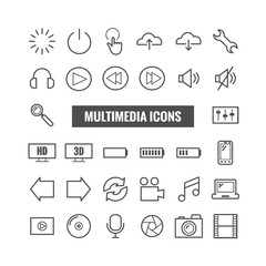 Set of multimedia outline icons. Thin icons for print, web, mobile apps