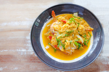 Sea-food, shrimp in yellow curry