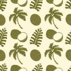 Seamless pattern. Palm trees, leaves, coconut