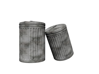 two trash can - 3d render
