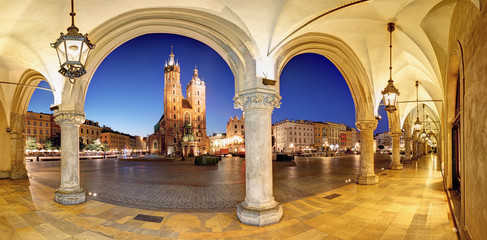 Cracow, Krakow Market Square at night, cathedral, Poland