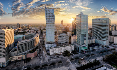 Warsaw city with modern skyscraper at sunset, Poland Wall mural