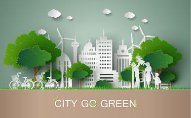 paper cut of eco concept. Wall mural