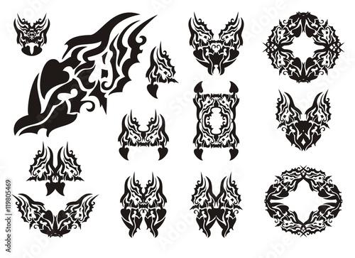 Wavy dragon symbols. Dangerous symbols of a dragon, butterfly of a ...