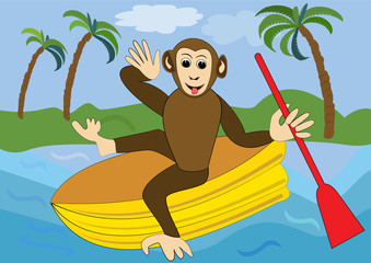 Funny monkey floats on yellow inflatable rubber dinghy with red oar. Illustration for children, animal vector cartoon clipart
