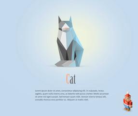 Vector polygonal illustration of cat, isometric Christmas man character, modern art