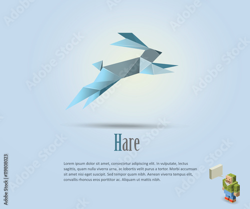 Vector Polygonal Illustration Of Hare Rabbit Icon Modern Art Isometric Man Character