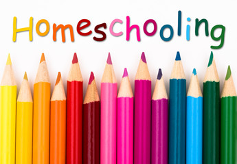 Pencil Crayons with text Homeschooling