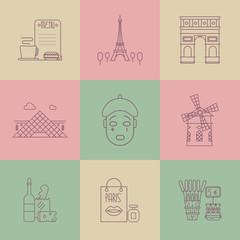 Set of linear Paris icons