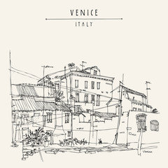 Canal bank in Venice, Italy, Europe. Historic buildings Vintage hand drawn travel sketch. Retro style touristic postcard, poster, calendar or book illustration