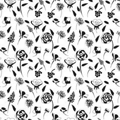 bnw flower pattern