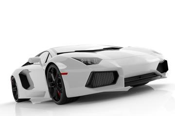 White metallic fast sports car on white background studio. Shiny