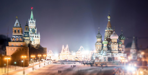 Wide angle soften edge view of Kremlin and Read Square in Christmas