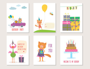 Set of birthday greeting cards design with cartoon animals