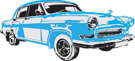 Russian retro car in blue color