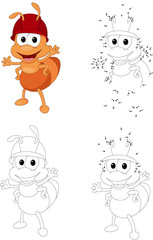 Cartoon ant worker. Coloring book and dot to dot game for kids
