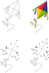 Cartoon colorful kite. Coloring book and dot to dot game for kid