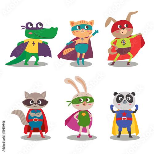 Superhero animal kids. Cartoon vector illustration