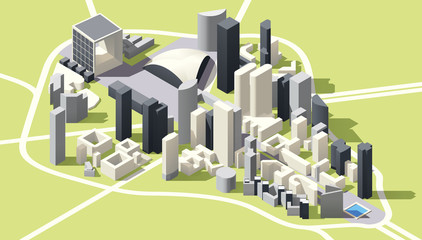 Vector Isometric low poly La Defense district map in Paris