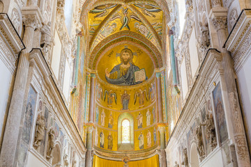 Interior of the Cathedral-Basilica of Cefalu. Mosaic of Christ.