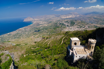 Castle and aerial view of the Erice, Sicily, Italy.