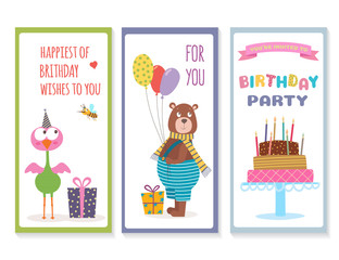 Set of birthday greeting cards with cute animals