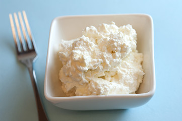 Dish of cottage cheese
